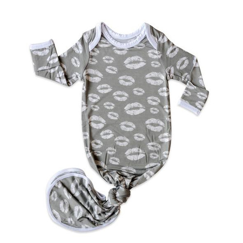 LITTLE SLEEPIES GRAY KISSES BAMBOO VISCOSE INFANT KNOTTED GOWN