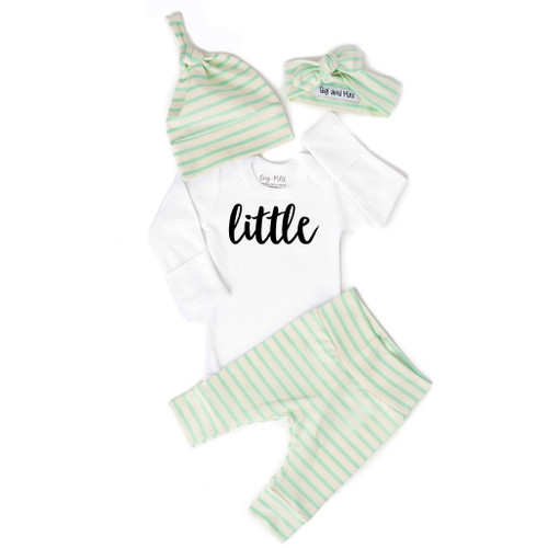 "4PC MINT STRIPE ""LITTLE"""