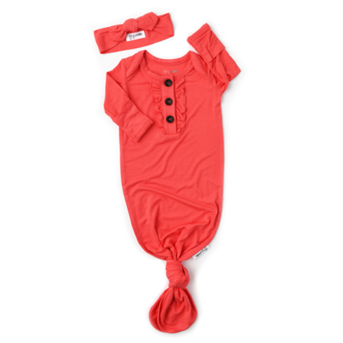 CORAL KNOTTED RUFFLE BUTTON GOWN - NB-3M