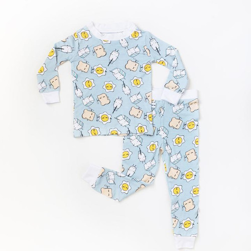 LITTLE SLEEPIES BLUE BREAKFAST BUDDIES 2-PIECE BAMBOO VISCOSE PAJAMA SET