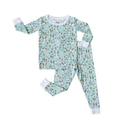 LITTLE SLEEPIES MINT BUNNIES 2 PIECE BAMBOO VISCOSE PAJAMA SET