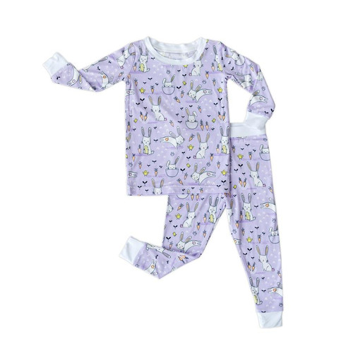 LITTLE SLEEPIES LAVENDER BUNNIES 2 PIECE BAMBOO VISCOSE PAJAMA SET