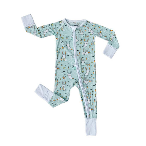 LITTLE SLEEPIES MINT BUNNIES BAMBOO VISCOSE ZIPPY