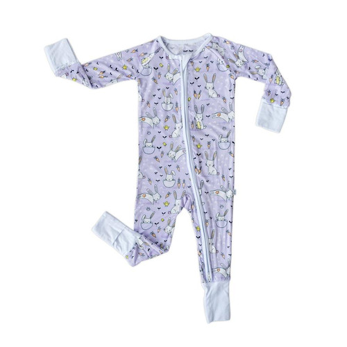 LITTLE SLEEPIES LAVENDER BUNNIES BAMBOO VISCOSE ZIPPY
