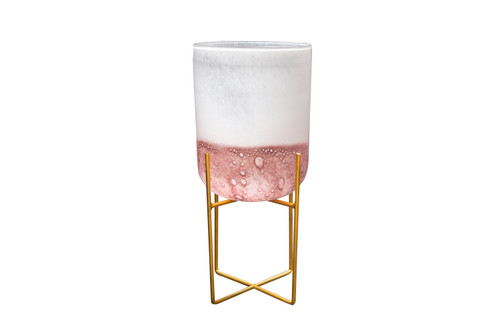 """TALL 8"""" MID CENTURY ROSE PLANTER WITH STAND"""
