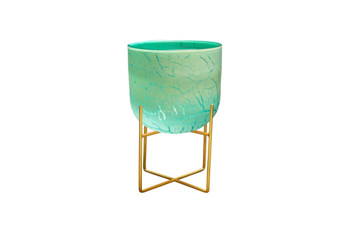 """LARGE 9"""" MID CENTURY GREEN PLANTER WITH STAND"""