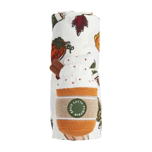 PUMPKIN SWADDLE AND RATTLE SET