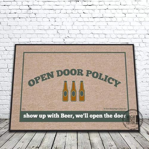 OPEN DOOR POLICY BEER MAT