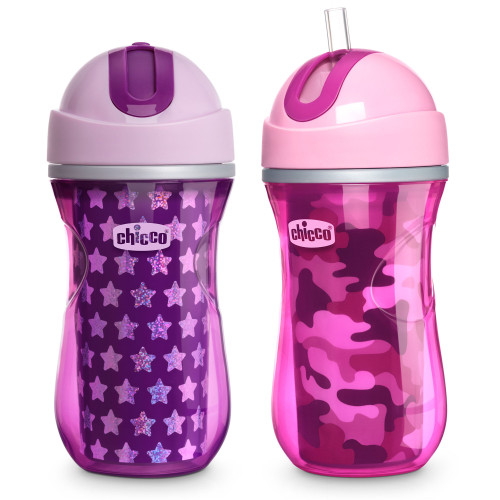INSULATED STRAW CUP GIRL  9OZ PINK/PURPLE