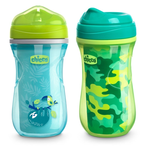 INSULATED RIM TRAINER CUP 9OZ 2PK GREEN/TEAL