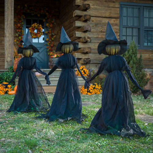 LIGHTED WITCH STAKES  SET OF 3