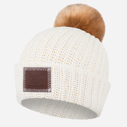 WHITE SPECKLED BEANIE WITH NATURAL POM