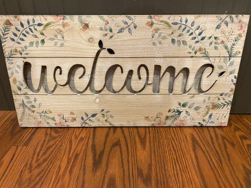 LIGHTED WELCOME WOODEN SIGN