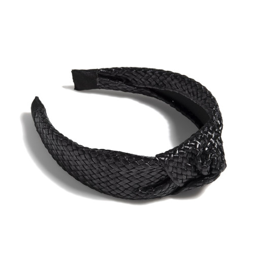 KNOTTED WOVEN HEADBAND BLACK