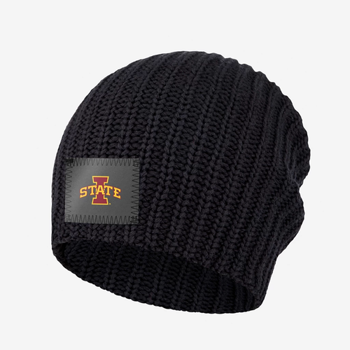 "Description:  This black beanie features a charcoal reflective patch with the Iowa State University logo on the front. These beanies are incredibly cozy and have a slouchier fit.     Details:  Yarn Colors: Black  Sizing: 9"" x 11"" standard when uncuffed. One Size.   Content: 100% Cotton  Care: Machine wash cold. Use mild detergent. Tumble dry high.   Origin: Made in Minneapolis, MN."