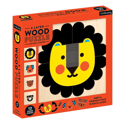 WOOD PUZZLE ANIMAL FACES