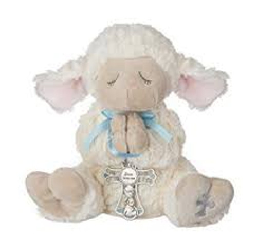 "13"" LAMB W CRIB CROSS BOY 2PC/S"