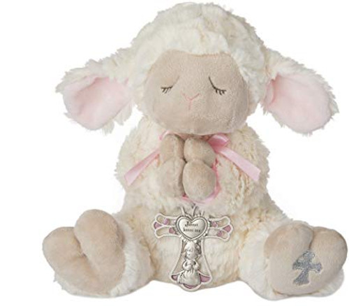 "13"" LAMB W CRIB CROSS GIRL 2PC/S"