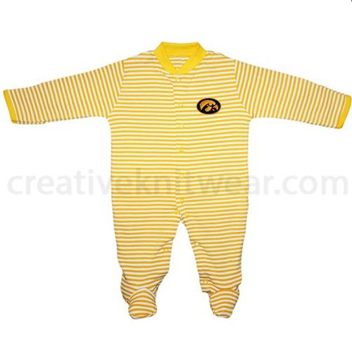HAWKEYE FOOTED ROMPER GOLD / WHITE STRIPE