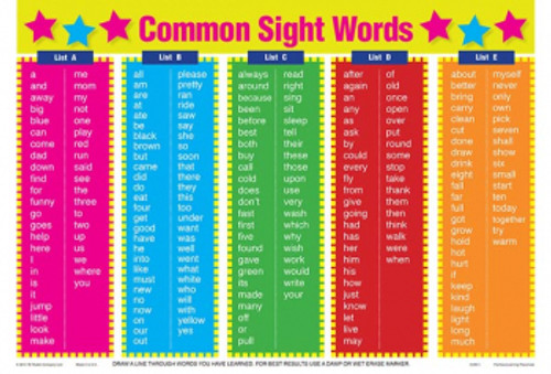 PLACEMAT COMMON SIGHT WORDS