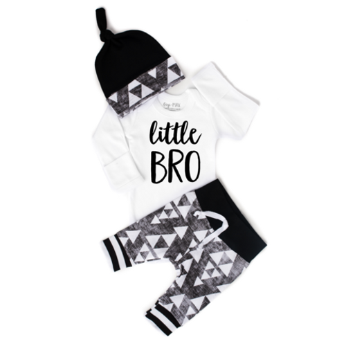 OUTFIT LITTLE BROTHER BLACK GRAY TRIANGLE NEWBORN