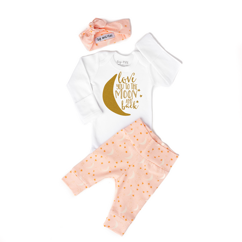 OUTFIT LOVE TO MOON & BACK PINK NEWBORN