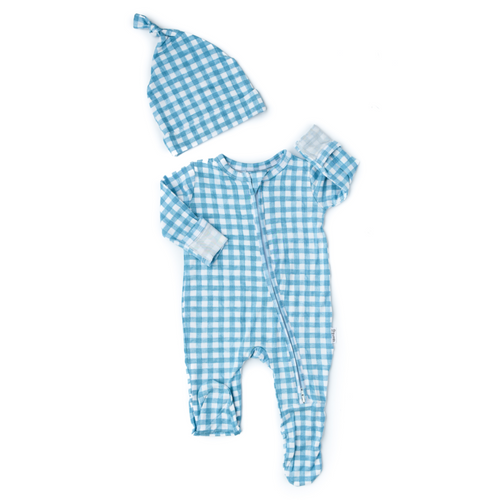 CONNOR BLUE GINGHAM NEWBORN FOOTED ZIP WITH HAT