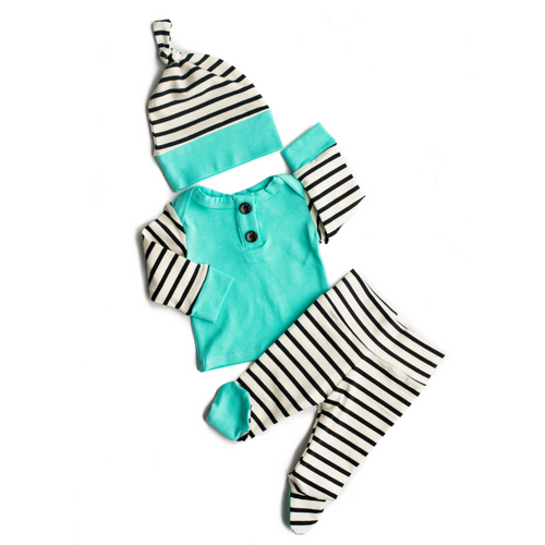 3 PIECE BUTTON NEWBORN OUTFIT BLACK AND WHITE STRIPE WITH TEAL