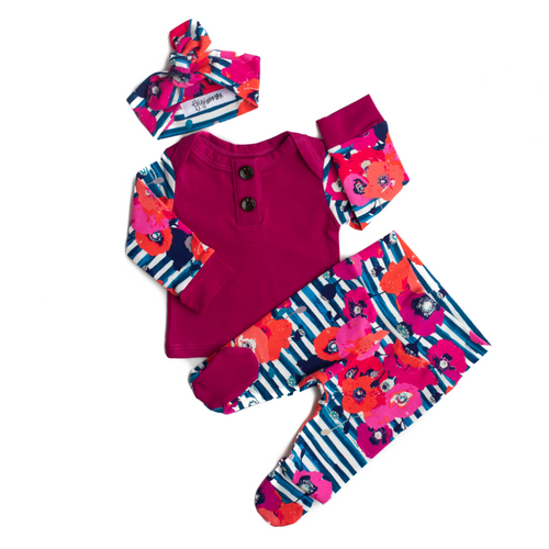3 PIECE BUTTON NEWBORN OUTFIT FUCHSIA WITH BLUE STRIPE FLORAL