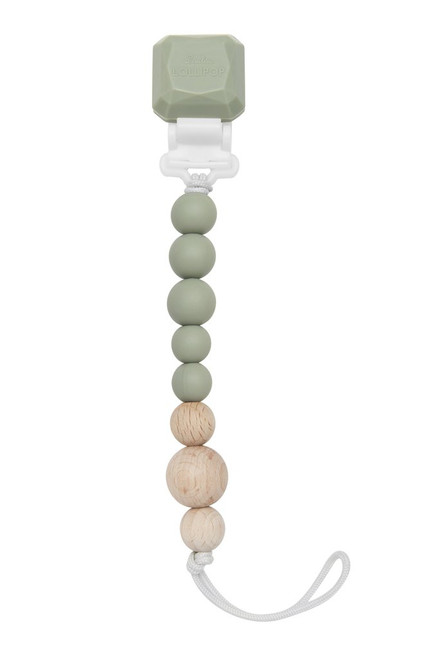 PACIFIER CLIP WOOD SILVER SAGE