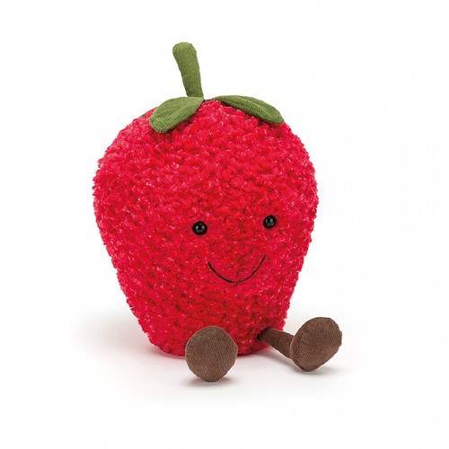 Amuseable Strawberry is a berry fine fruit, with textured two-tone fur in rich reddy-pink. This plump little pal wears a stylish stalk hat, and has a beany bottom for sitting up straight. A big stitchy smile and cordy feet complete the look for this merry strawberry.