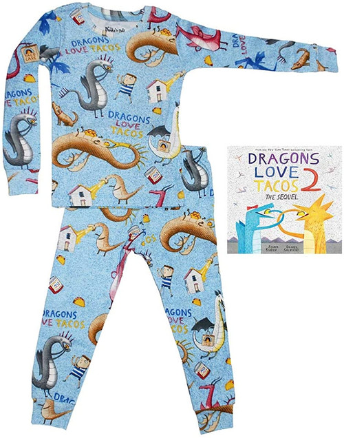 BOOKS TO BED PAJAMA SET DRAGONS LOVE TACOS