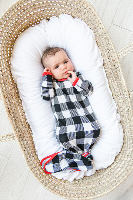 LITTLE SLEEPIES BUFFALO PLAID BAMBOO VISCOSE INFANT KNOTTED GOWN