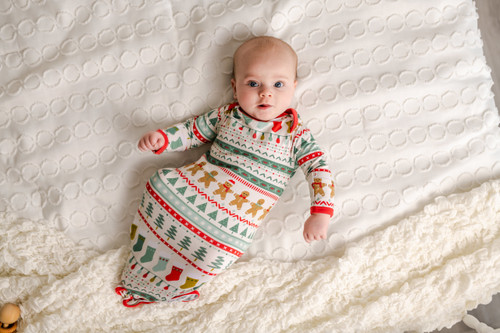 LITTLE SLEEPIES FAIR ISLE BAMBOO VISCOSE INFANT KNOTTED GOWN