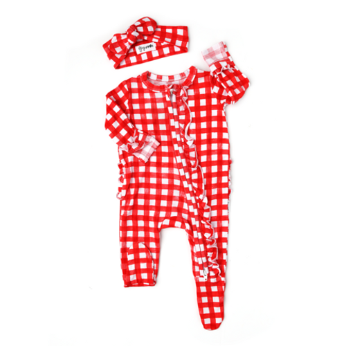 ROMPER FROST RED GINGHAM WITH HEADBAND