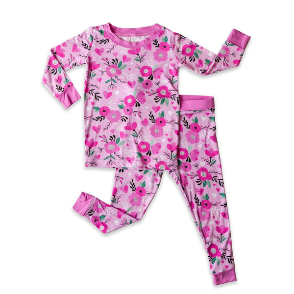 LITTLE SLEEPIES SWEETHEART FLORAL TWO-PIECE BAMBOO VISCOSE PAJAMA SET