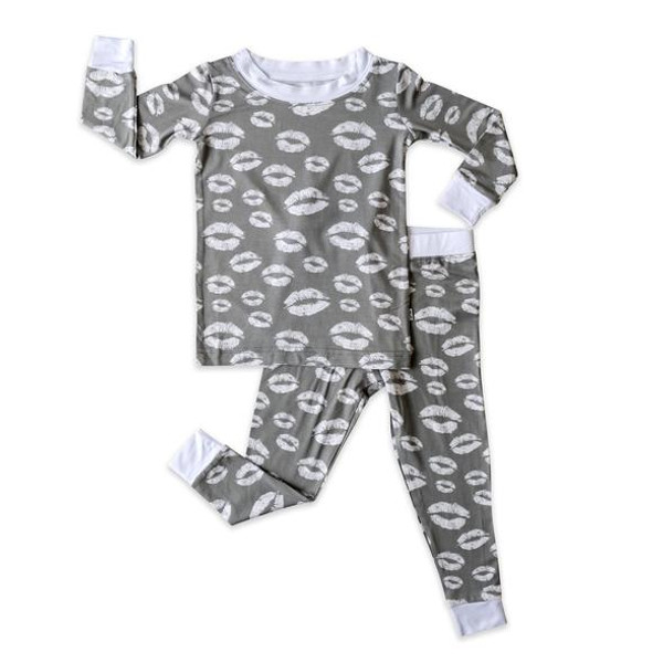 LITTLE SLEEPIES GRAY KISSES TWO-PIECE BAMBOO VISCOSE PAJAMA SET