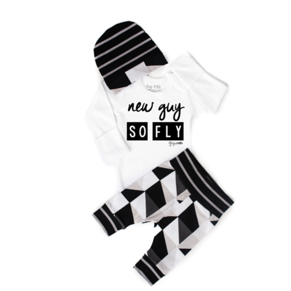 OUTFIT NEW GUY SO FLY BLACK GRAY TRIANGLES NEWBORN