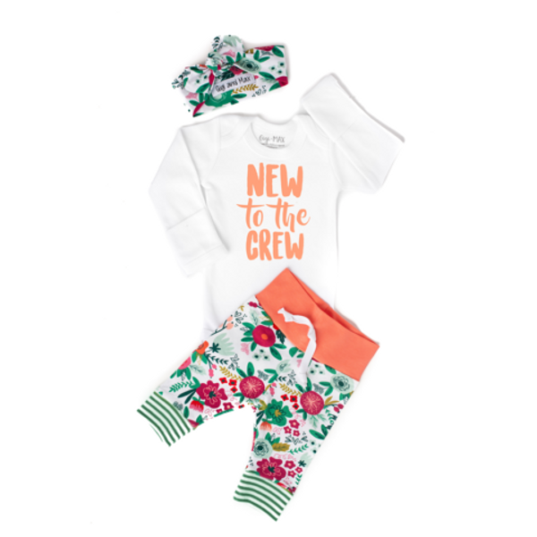 OUTFIT NEW TO CREW CORAL FLORAL NEWBORN