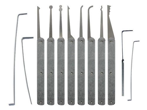 12 Piece Laminated Plain Handle Lock Pick Set (LPH-12)
