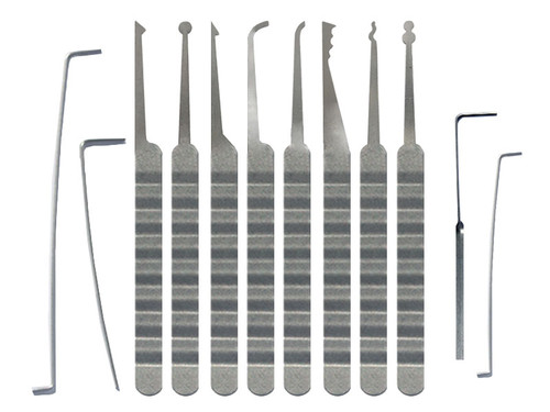12 Piece Plain Ripple Handle Lock Pick Set (PRH-12
