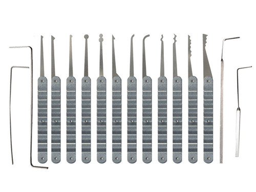 16 Piece Laminated Ripple Handle Lock Pick Set (LRH-16)