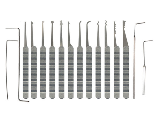 16 Piece Plain Ripple Handle Lock Pick Set (PRH-16)