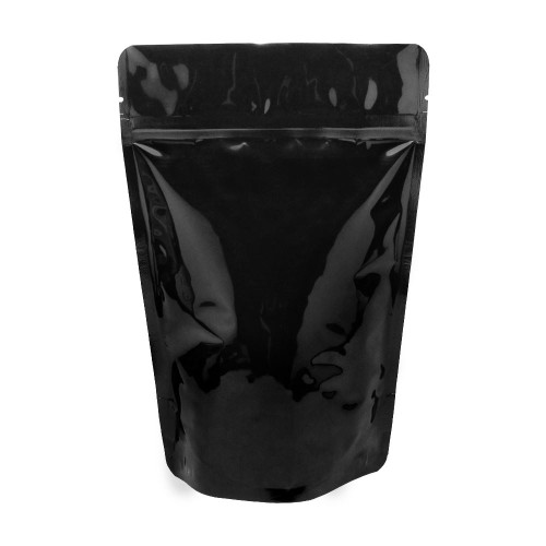"Black Kraft Stand Up Pouch, 5.6 Mil, 5"" x 8"" + 3.5"", 500/Case"