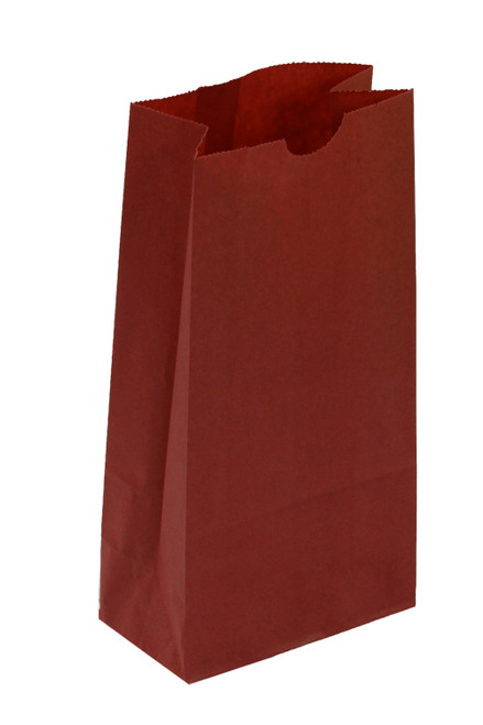 #4 Colored Lunch Bag, 5 x 3 1/8 x 9 5/8, Red, 500/case