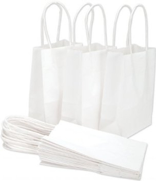 HANDLED SHOPPING BAGS, 8 x 4 3/4 x 10 1/4, WHITE, 250/case
