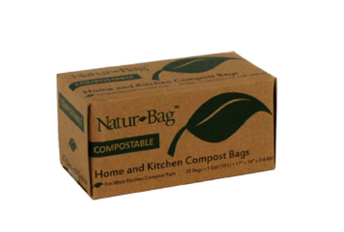 Compostable Trash Bag, 3 Gallon, Retail Packed, 17 x 17, .7 mil, Green, 600/case