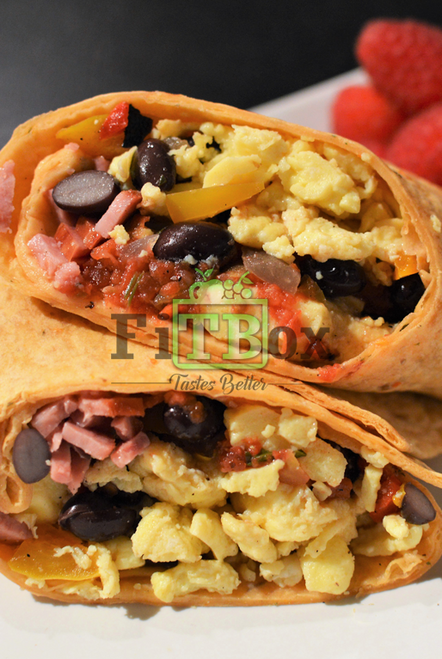 High Protein and Fiber Breakfast Wrap with a side of Fruit
