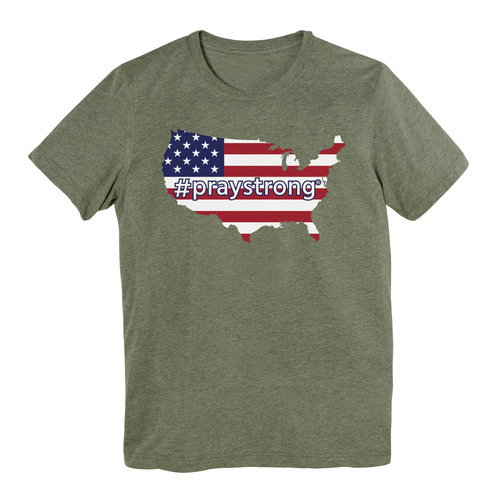 This stylish, short-sleeve tee allows you to comfortably demonstrate your American prayer warrior pride, reminding yourself and others to keep the USA in your hearts and prayers. Choose between colors of grey, green, and navy blue to perfectly outfit yourself for any social occasion or athletic outing.