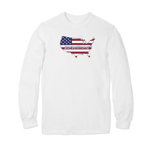 USA Flag #PrayStrong Longsleeve T-shirt
